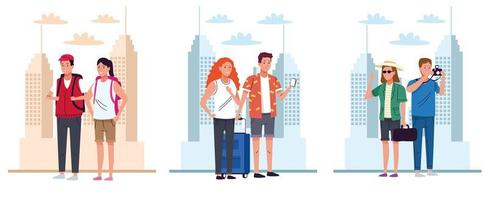 tourists people group standing scenes characters vector