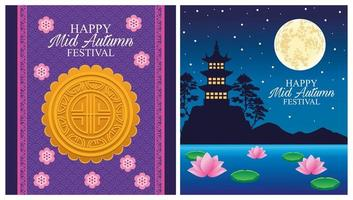 happy mid autumn festival card with castle and moon vector