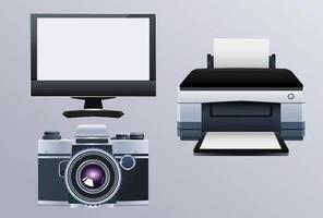 máquina de hardware de impresora con monitor y cámara vector
