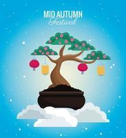 mid autumn celebration card with cute bonsai in cloud scene vector