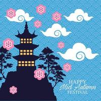 happy mid autumn festival card with castle and flowers vector