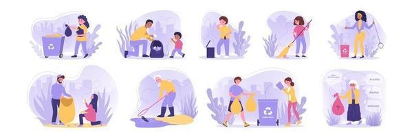 recycling set concept vector