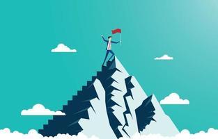 Businessman leader holding winner flag standing pride on top of the mountain peak vector