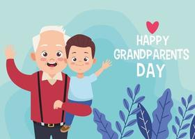 happy old grandfather with little grandson and lettering vector