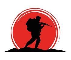 Soldado militar con figura de silueta de pistola vector