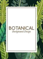 tropical leafs in square frame and lettering botanical background design vector