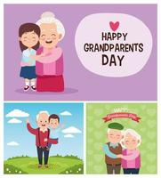cute happy grandparents with little kids in the camp vector