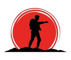 military soldier silhouette figure icon vector