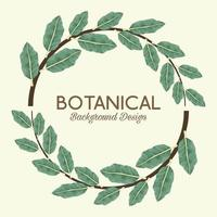 tropical leafs in circular frame and lettering botanical background design vector