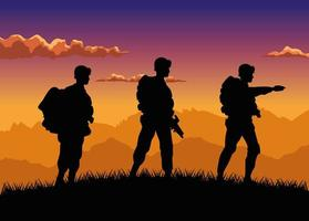 military soldiers silhouettes figures in the camp sunset scene vector