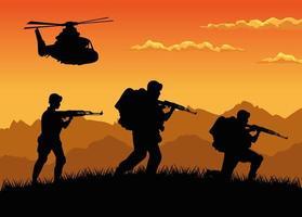 Soldados militares con pistolas y siluetas de helicópteros escena al atardecer vector
