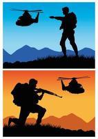soldados militares con pistolas y siluetas de helicópteros vector