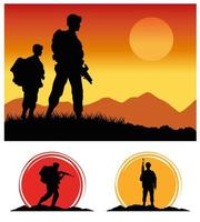 military soldiers with guns silhouettes figures sunset scene vector