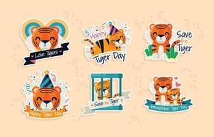 Tiger Day Sticker vector