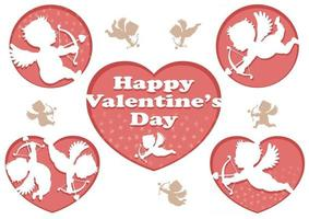 Vector 3D Relief Cupid Icons For Valentines Day Isolated On A White Background