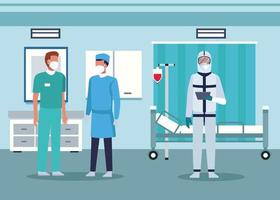 group of doctors staff wearing medical mask in the hospital room vector
