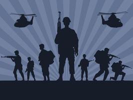 Soldados militares con pistolas y helicópteros siluetas en fondo gris vector
