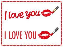 Vector te amo conjunto de mensajes dibujados con lápices labiales aislado sobre un fondo blanco.