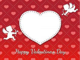 Valentines Day Seamless Vector Card Template With Two Cupids Taking Aim At A Blank White Heart Shape