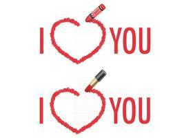 vector te amo conjunto de mensajes dibujados con un crayón y lápiz labial aislado en un fondo blanco