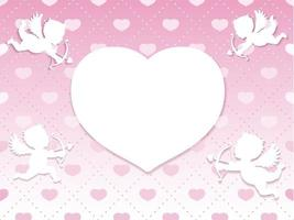 Valentines Day Seamless Vector Card Template With Four Cupids Taking Aim At A Blank White Heart Shape