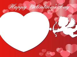 Valentines Day Vector Card Template With A White Cupids Taking A Aim At A Large White Heart Shape