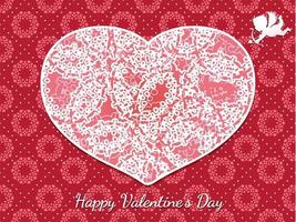 Valentines Day Seamless Vector Card Template With A Cupids Taking Aim At A Decorative Heart Shape