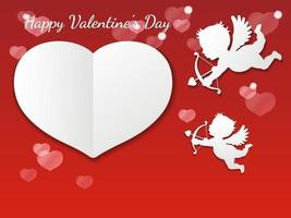 Valentines Day Vector Card Template With Two Cupids Taking A Aim At A Blank White Heart Shape