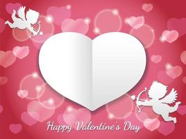 Valentines Day Vector Card Template With Two Cupids Flying Toward A Blank White Heart Shape