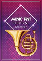 cartel del festival de música con trompetas. vector