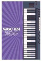 music fest poster with piano vector
