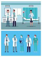 group of doctors staff wearing medical mask in the hospital places vector
