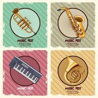 music fest poster with instruments vector