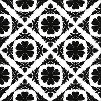 Vintage seamless black and white floral pattern vector