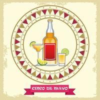 celebración del cinco de mayo con marco circular de cócteles de tequila vector