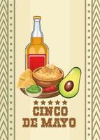 celebración del cinco de mayo con tequila y comida vector