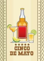 celebración del cinco de mayo con bebidas de tequila vector