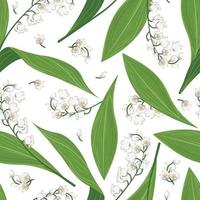 Seamless pattern of spring lily of the valley Endless repeatable design background with plant blossoms white flowers Vector illustration for wrapping