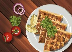middle eastern food in wooden table vector
