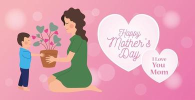 happy mothers day character with son and house plant vector