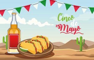 Celebración del cinco de mayo con escena del desierto de tequila y quesadillas vector