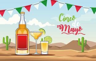 celebración del cinco de mayo con bebida de tequila escena del desierto vector