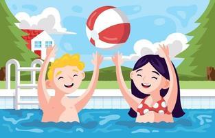 niños nadando y jugando en la piscina. vector