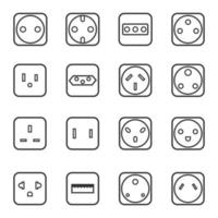 Socket outlet linear icon set vector