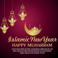festival islámico feliz celebración muharram tarjeta de felicitación con luna dorada y mezquita vector