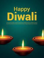 Realistic indian festival vector illustration of happy diwali celebration party flyer