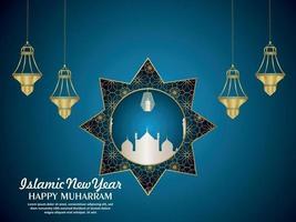 Linterna creativa de la feliz celebración de muharram tarjeta de felicitación con trama de fondo vector