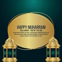 Feliz año nuevo islámico muharram celebración tarjeta de felicitación con ilustración vectorial vector