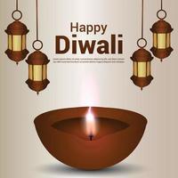 Happy diwali indian festival celebration greeting card with creative diwali diya vector