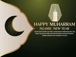 feliz muharram ilustración vectorial realista de linterna islámica vector